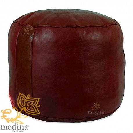 Ottoman round rosette bordeau, a beanbag Chair real leather and handmade