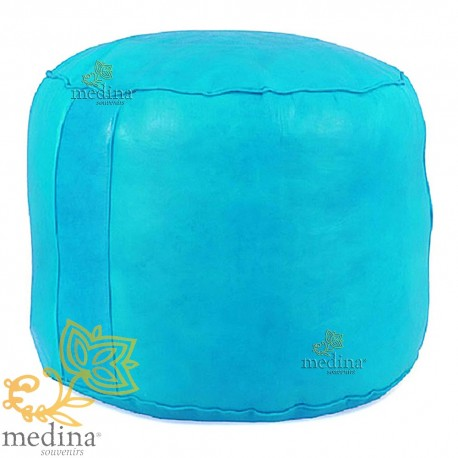 Ottoman round rosette Turquoise, a beanbag Chair real leather and handmade