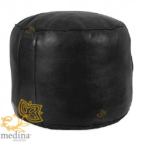 Ottoman round rosette black, an Ottoman real leather and handmade