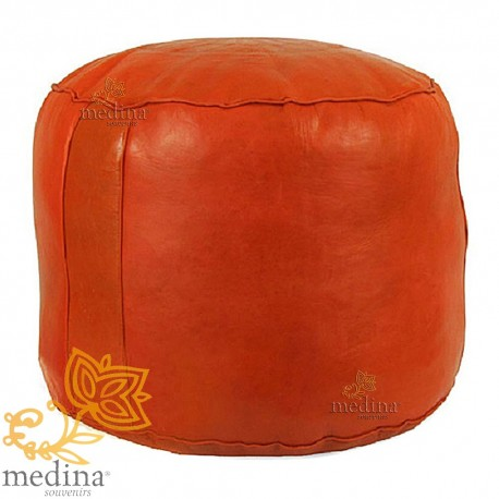 Ottoman round rosette Orange, an Ottoman real leather and handmade