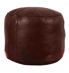 Ottoman round rosette chocolate, a beanbag Chair real leather and handmade