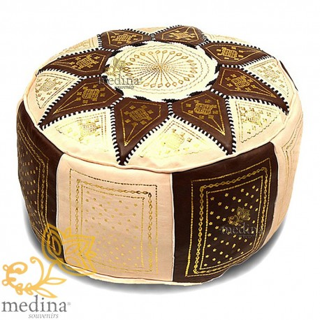 Fassi Ottoman leather ivory and chocolate, Moroccan Ottoman leather handmade