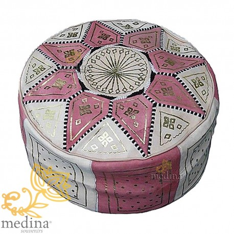 Fassi Ottoman in pink and white, Moroccan Ottoman leather real leather handmade