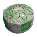 Fassi pouf in leather Green Apple, Moroccan Ottoman leather handmade