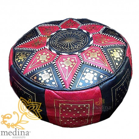 Fassi Ottoman leather red and black, Moroccan Ottoman leather handmade