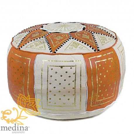 Fassi Ottoman leather Orange and white, Moroccan Ottoman leather handmade