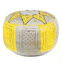 Fassi Ottoman leather yellow and white, Moroccan Ottoman leather handmade