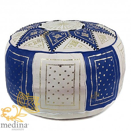 Fassi Ottoman leather blue and white, Moroccan Ottoman leather handmade