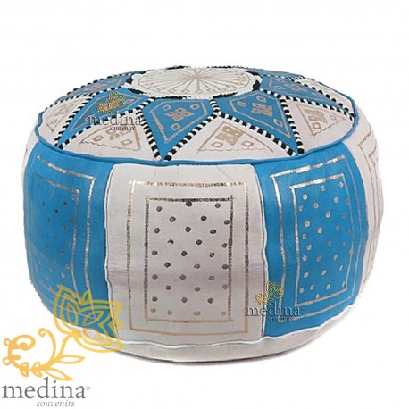 Fassi Ottoman leather Turquoise and white, Moroccan Ottoman leather handmade