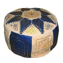 Fassi Ottoman ivory leather and blue marine, handmade leather pouf