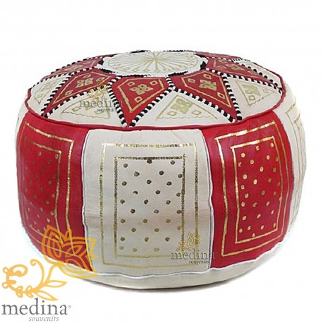 Fassi Ottoman in red and white, leather Ottoman in genuine leather handmade