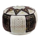 Fassi Ottoman leather ivory and black, hand-made leather pouf