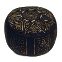 Fassi Ottoman in black leather and gold, Moroccan Ottoman leather handmade
